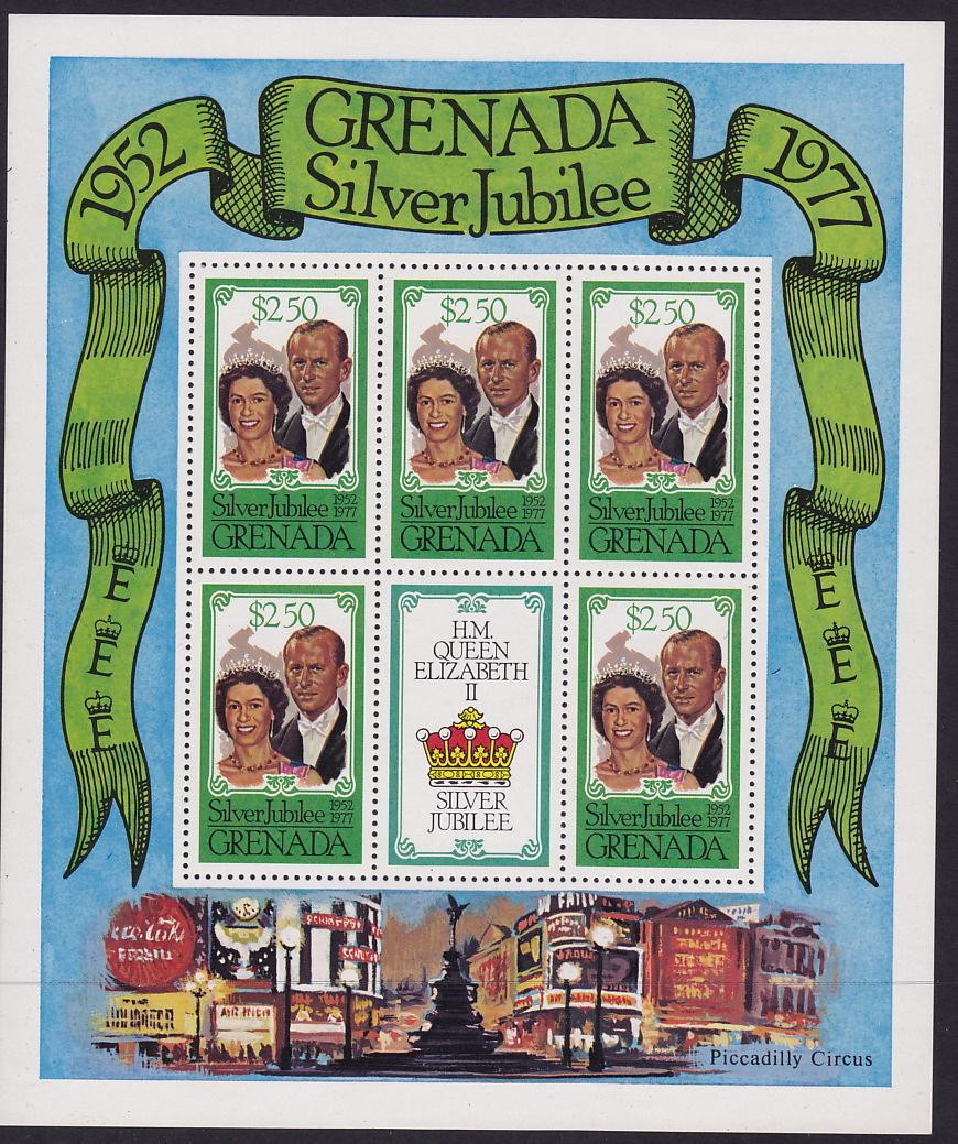 GRENADA   1977  Queen Elizabeth II Silver Jubilee Complete  Sheet Of 5 + Label  MNH ** - Grenada (1974-...)