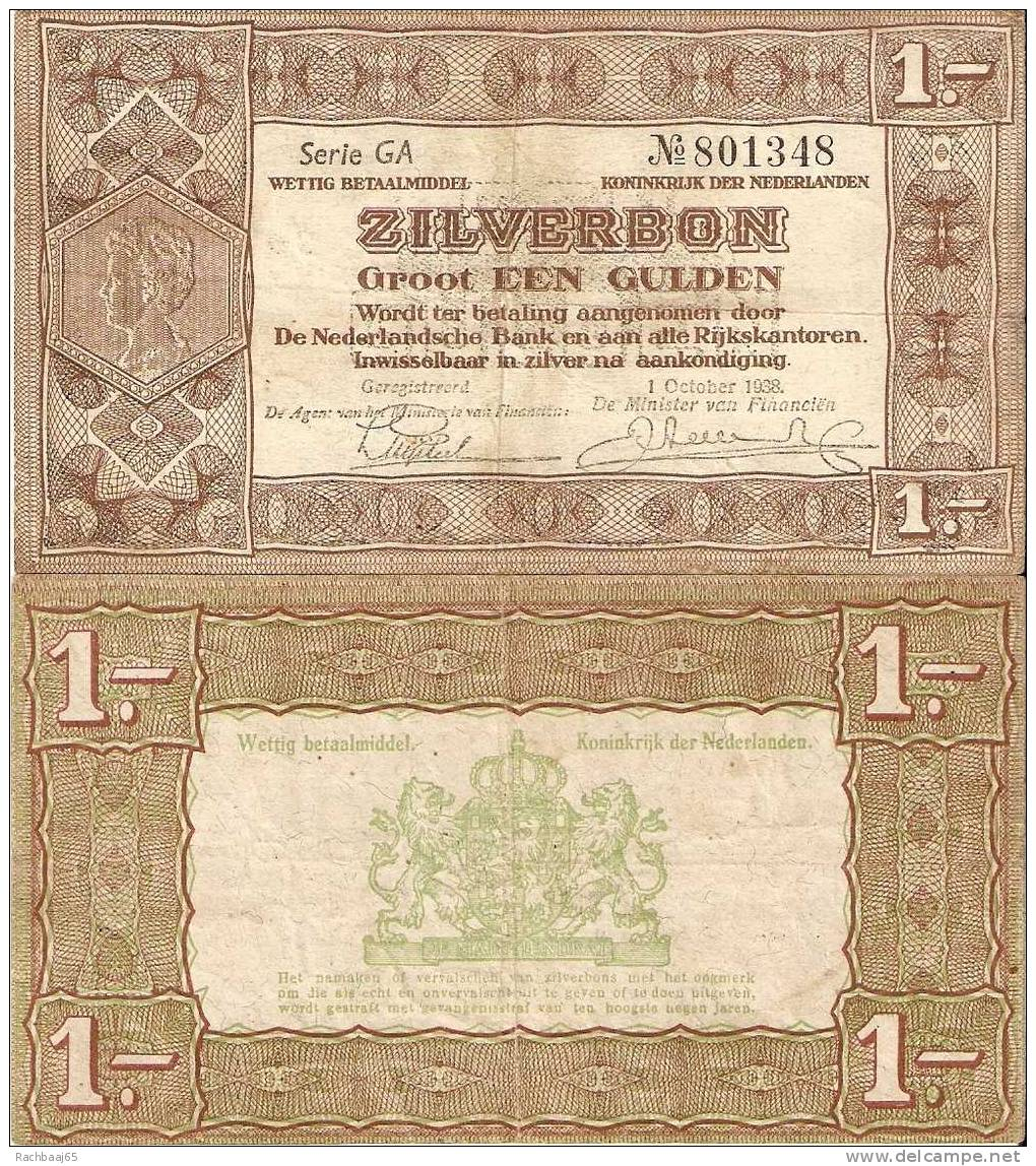 PAYS-BAS 1 GULDEN  Serie FO  N° 766471           01/10/1938 ETAT SUP+ - To Identify