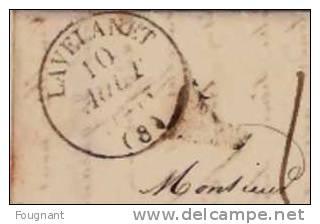 FRANCE:1843 Précurseur De LAVELANET(Ariège.) Vers AVIGNON.Belles Oblitérations.Nismes-Avig Non. - Marcophilie (Lettres)