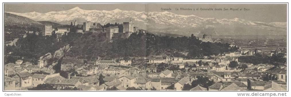 GRANADA - LA ALHAMBRA Y LA GENERALIFE DESDE SAN MIGUEL EL BAJO - Carte Vierge - Tarjeta Virgen Panoramica - Granada