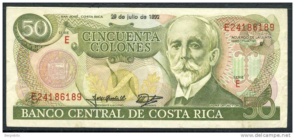 1992 Costa Rica 50 Colones In Very Nice Condition, This Is A Very Rare Date,most Are 1993!! - Costa Rica