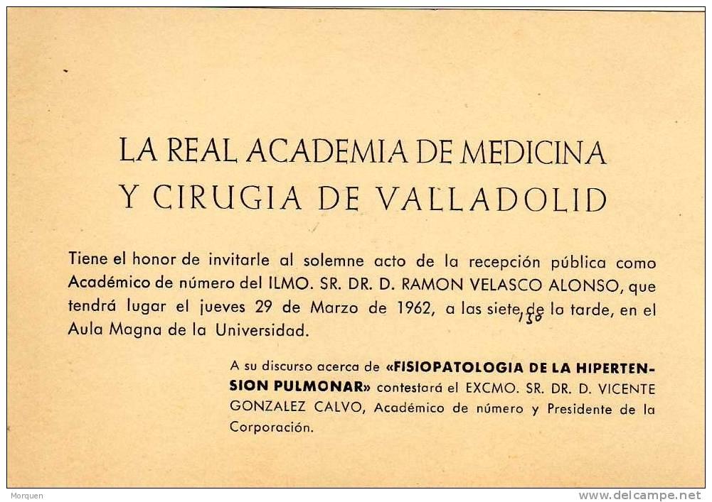 Invitacion Real Academia Medicina VALLADOLID 1962 - Sin Clasificación