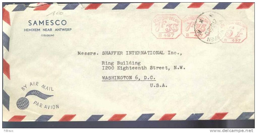 1950 AIRMAIL ENVELOPPE VAN HEMIXEM NAAR USA - Precancels