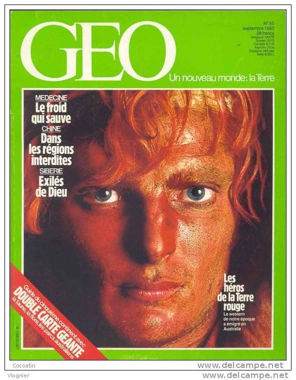 """Geo N° 55   """"  Australie Chine - Cerfs Medecine Du Froid - Castille - Mini Motos Exiles De La Taiga  """"   Septembre  1983 - Géographie"""