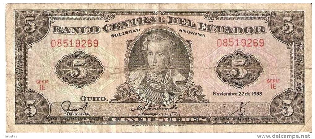 BILLETE DE ECUADOR DE 5 SUCRES DEL 22/11/1988 - Ecuador