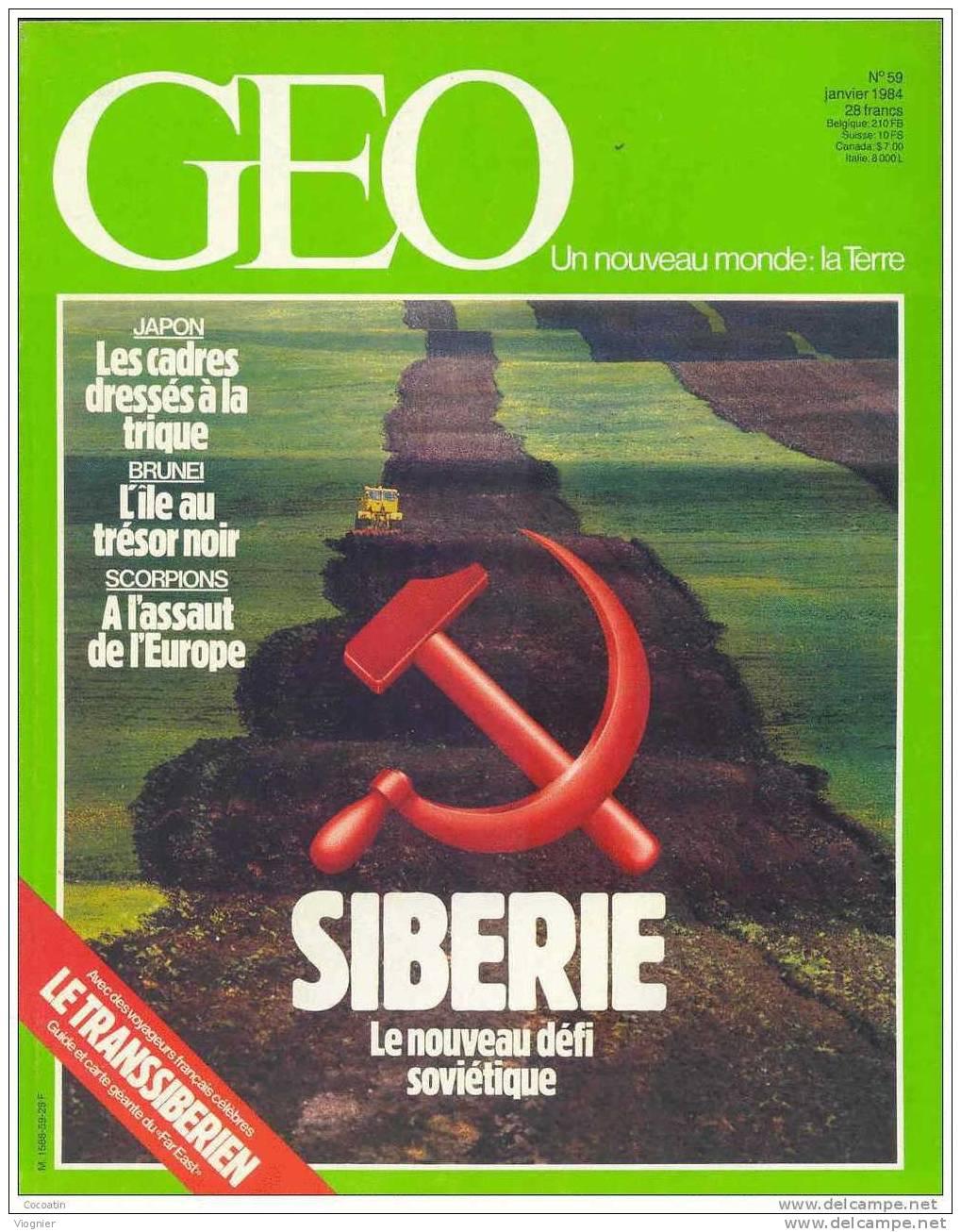 """Geo N° 59   """"  Siberie Pamplune Scorpions Brunei  Boomerang  Cadres Japonais  Barrage PaysBas  Lavande """"  Janvier  1984 - Géographie"""