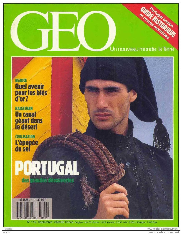 Geo N° 115  Portugal Ancien Désert Thar Beauce Vautours D'Égypte Le Sel Rallye Riga Malouines    Septembre 1988 - Geografia