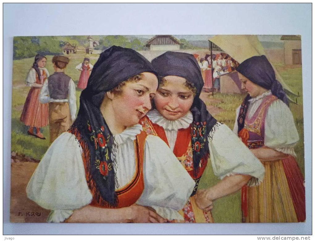 Les Costumes Nationaux Tchékoslovaques  :  Carte Couleur. - Tschechische Republik
