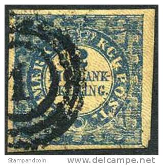 Denmark #1a XF Used 2rs Blue First Printing Of 1851 - Scarce - Used Stamps