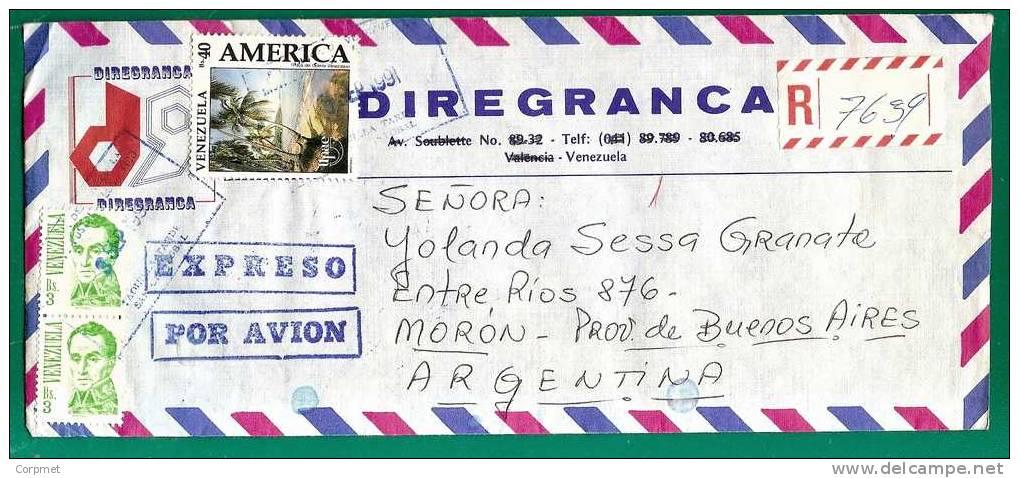 VENEZUELA - VF EXPRESO REGISTERED COVER From SAN CRISTOBAL To BUENOS AIRES - AMERICA UPAE + CVA Pair + Bolivar Pair - Venezuela