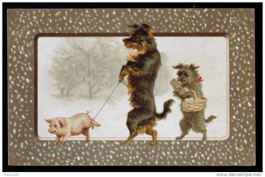 Petits Chiens Caniches Debouts Avec Un Cochon En Lesse - 1903 Dos écrit Et Timbré - Cochons