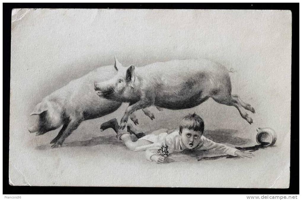Petit Garçon Par Terre Avec Son Pot De Chambre Renversé Par Deux Cochons - Dos Précurseur Vierge - Cochons