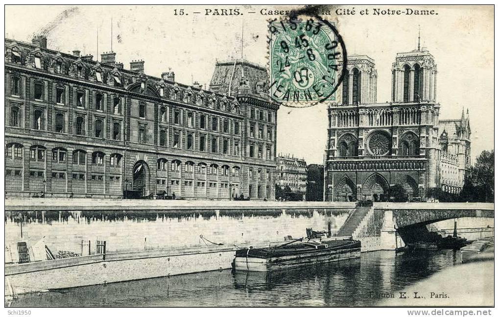 CA - Bateaux - Péniches - Casernes De La Cité & Notre Dame à Paris - 1907 - Hausboote