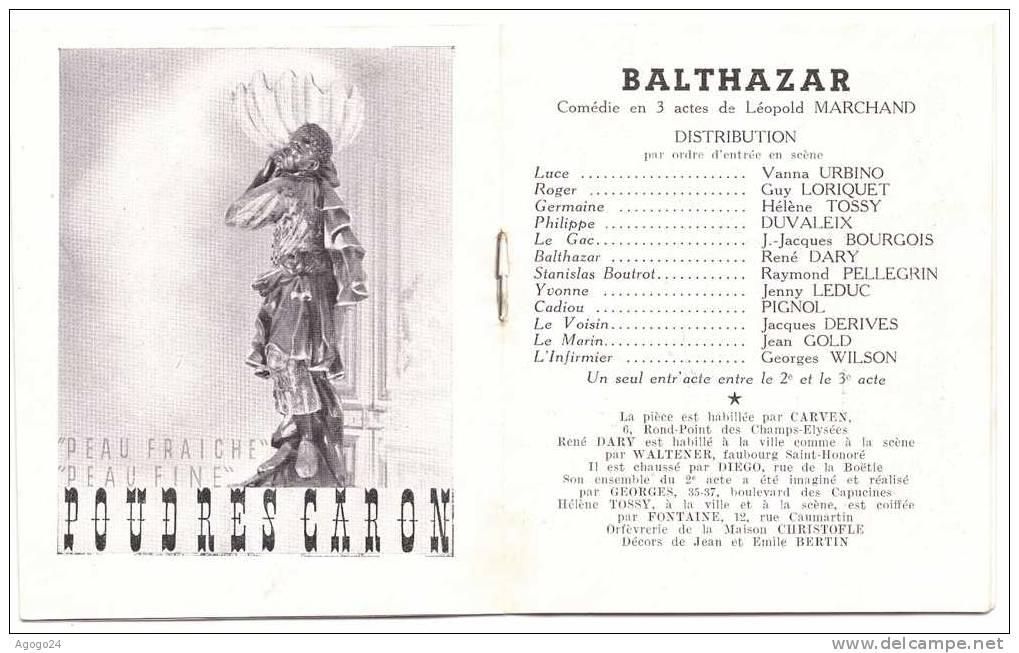 Programme Théâtre Des Variétés Comédie BALTHAZAR - Programmes