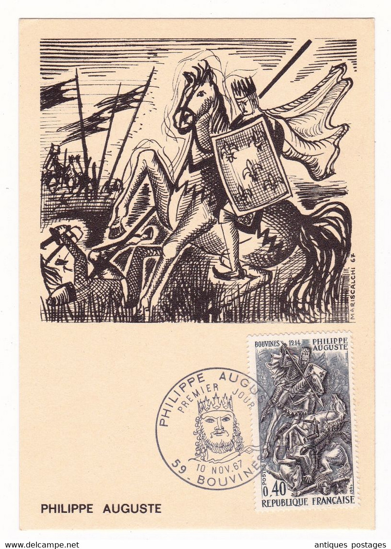Carte Maximum 1967 Philippe Auguste Bataille De Bouvines Nord - History