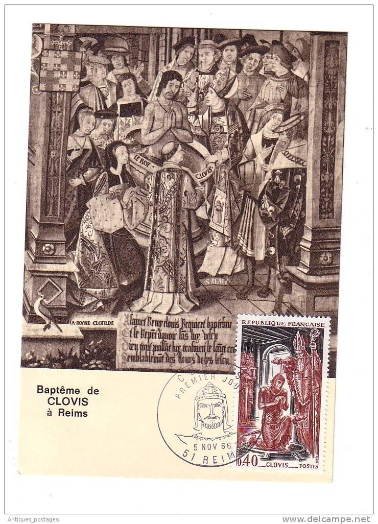 Carte Maximum 1966 Baptême De Clovis Reims Marne Champagne - History