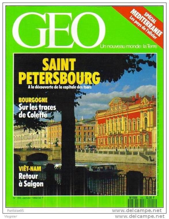 Geo N° 155  St Petersbourg Montana Bhopal Loutres De Mer Colette La Puisaye Ho Chi Minh Ville Oliviers  Janvier  1992 - Géographie