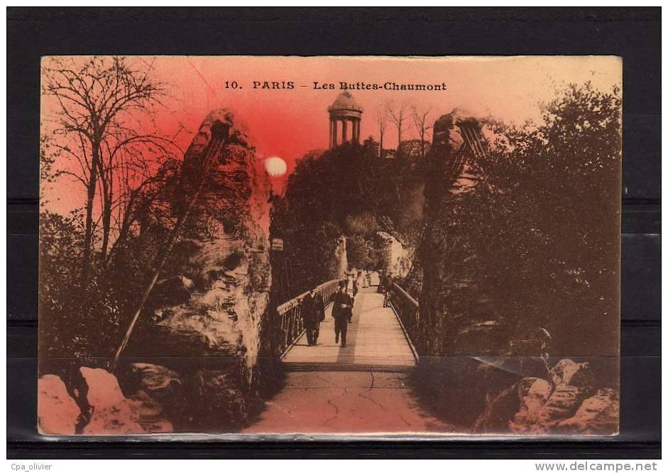 75 PARIS XIX Buttes Chaumont, Pont Suspendu, Animée, Colorisée, Ed AB 10, 192? - Arrondissement: 19