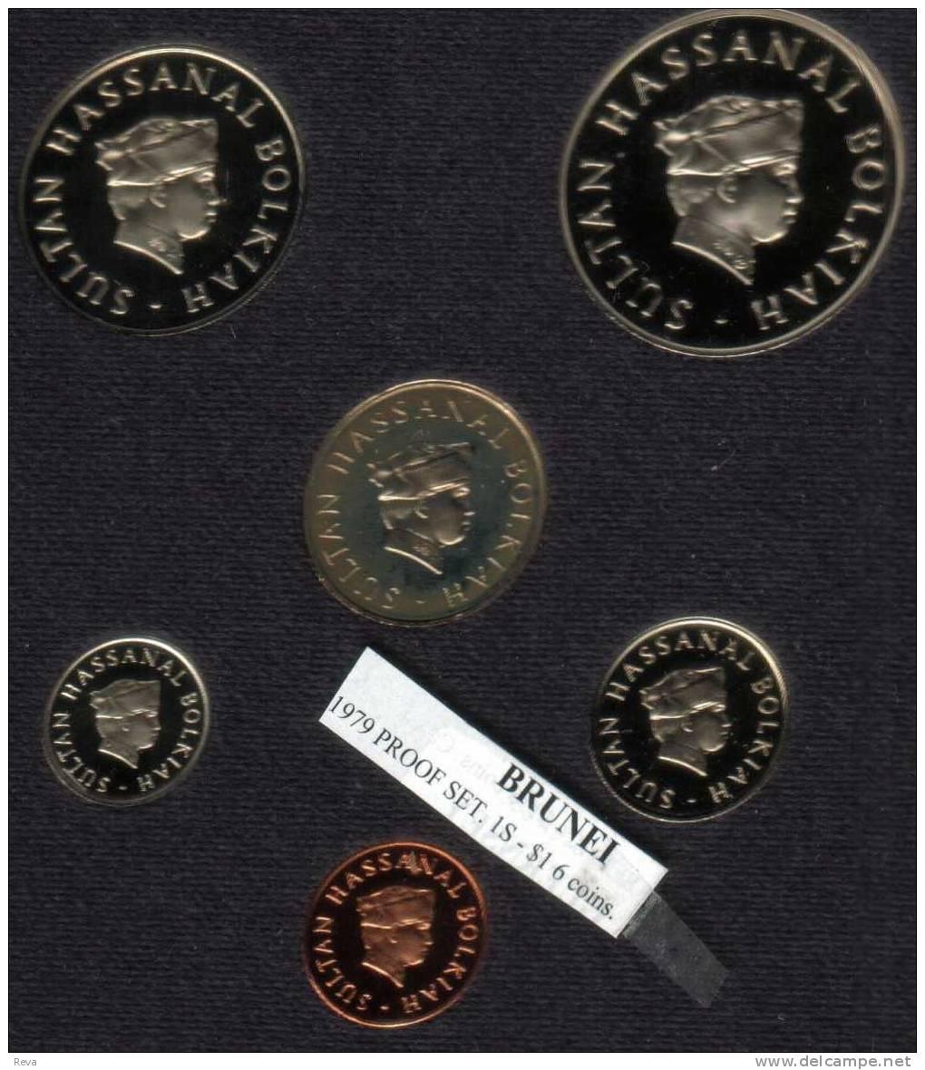 BRUNEI PROOF SET 1 CENT - $1SCARCE  ROYAL INSIGNIA FRONT SULTAN HEAD BACK 1979 PROOF READ DESCRIPTION CAREFULLY!! - Brunei