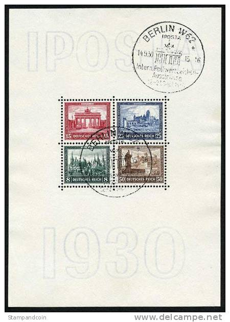 Germany B33 Used Semi-Postal Souvenir Sheet From 1930 - Used Stamps