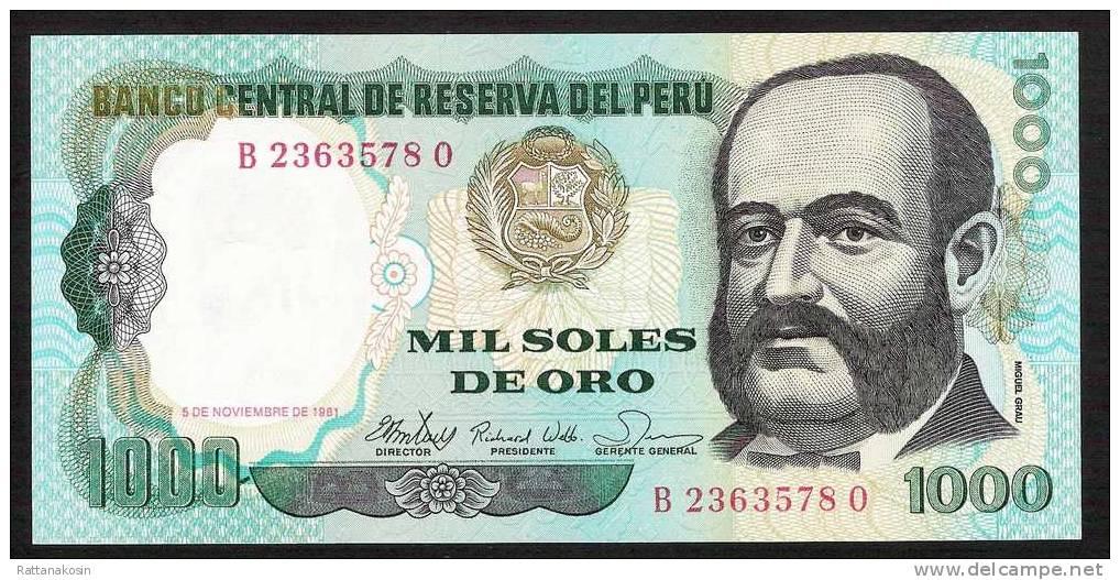 PERU P122  1000 SOLES  1981    UNC. - Pérou
