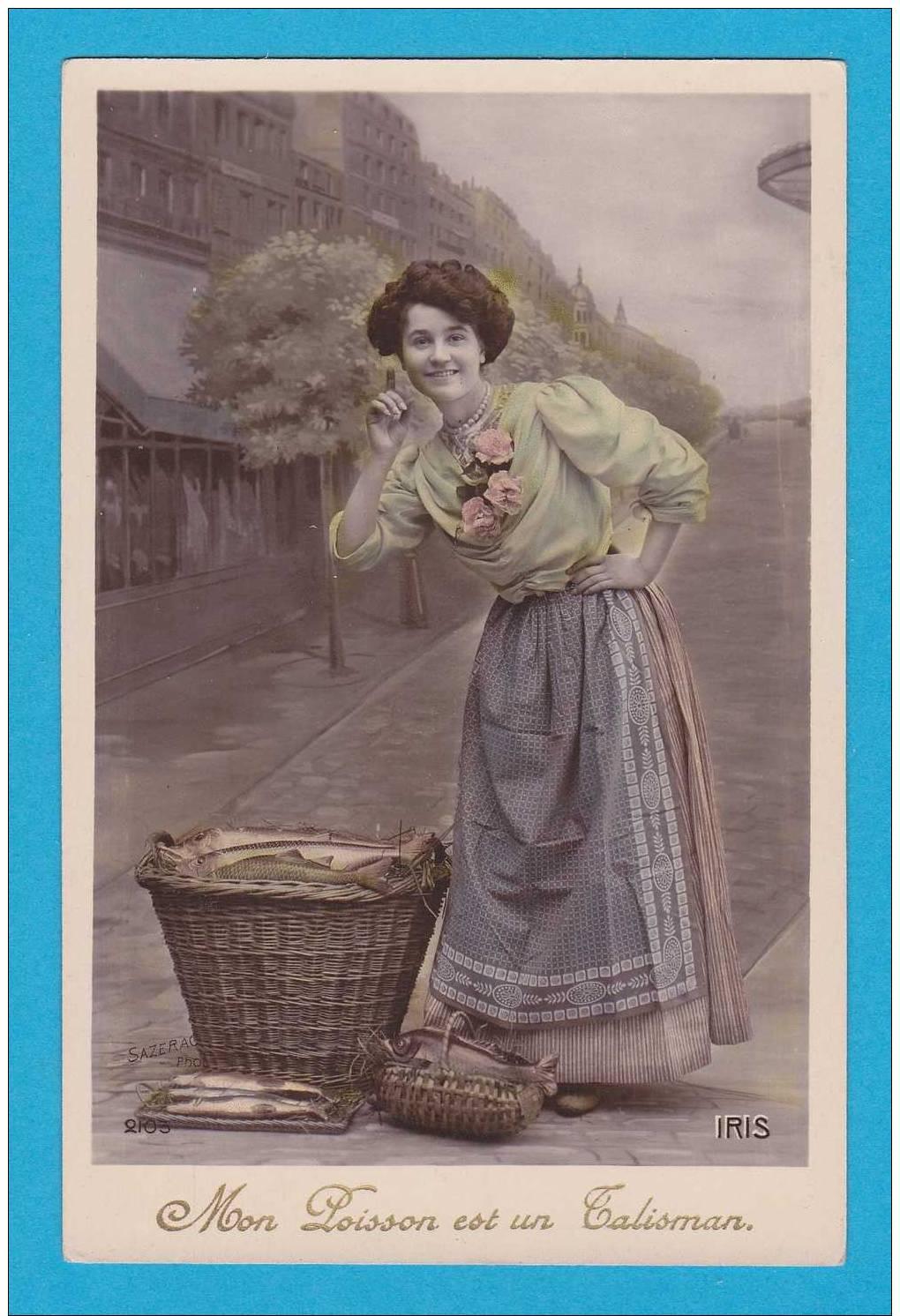 1er Avril  Jeune Femme Avec Poissons  --   Mon Poisson Est Un Talisman    EDT / N°   Iris 2103 - Erster April