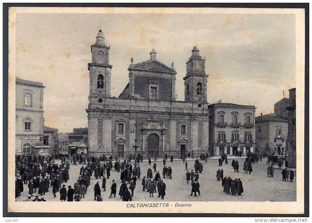 CALTANISSETTA PIAZZA DUOMO ANIMATA CHIOSCO INSEGNA 1948 - Caltanissetta