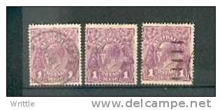 Australie Lot A1028, YT N° 21, Filigrane III, 3 Exemplaires, Côte 6€ - 1913-36 George V : Heads