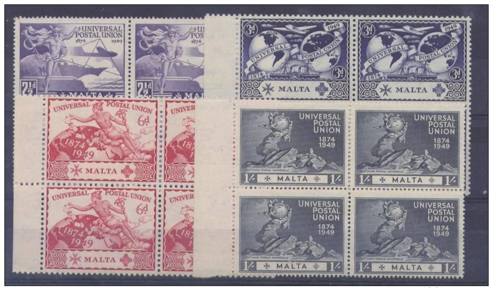 BB146 - MALTA 1949 , Serie UPU N. 218/221  *** Quartina - Malta