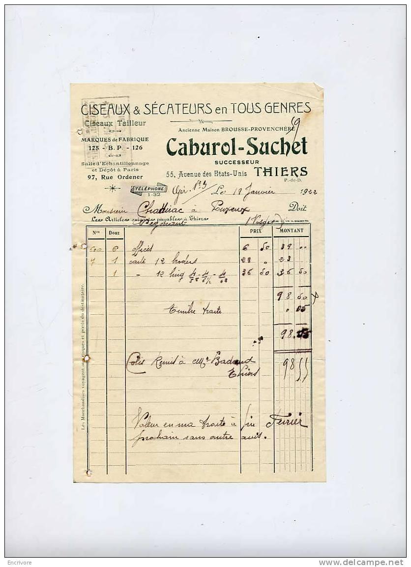 CABUROL SUCHET Anc Maison Brousse Provenchère Ciseaux Sécateurs THIERS 1922 - 1900 – 1949