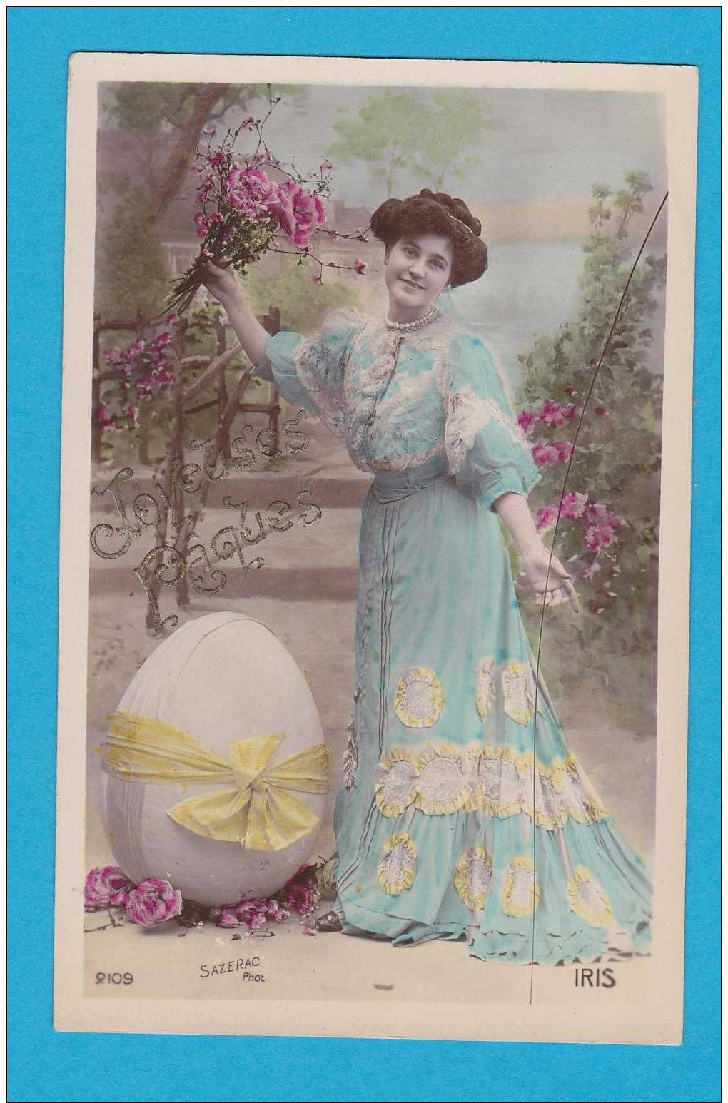 Pâques  Jeune Femme  Avec 1 Oeuf       EDT  Iris 2109 - Ostern