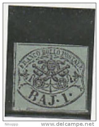 Italian States,Roman States-1852 1 Baj Grey Green  MH Signed - Papal States