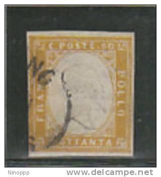 Italian States,Sardinia-80c Yellow Used And Signed - Sardinia