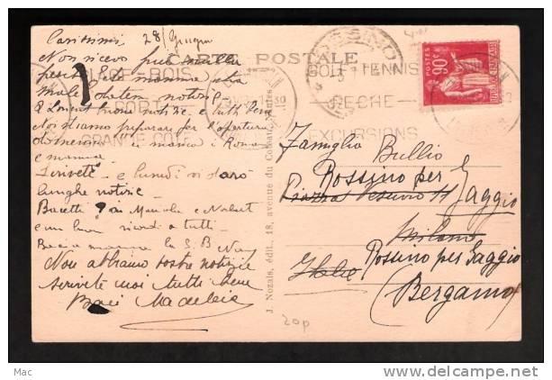 France 1934 Le Pouliguen Postmark On Addressed Post Card, Light Cancel - Tennis