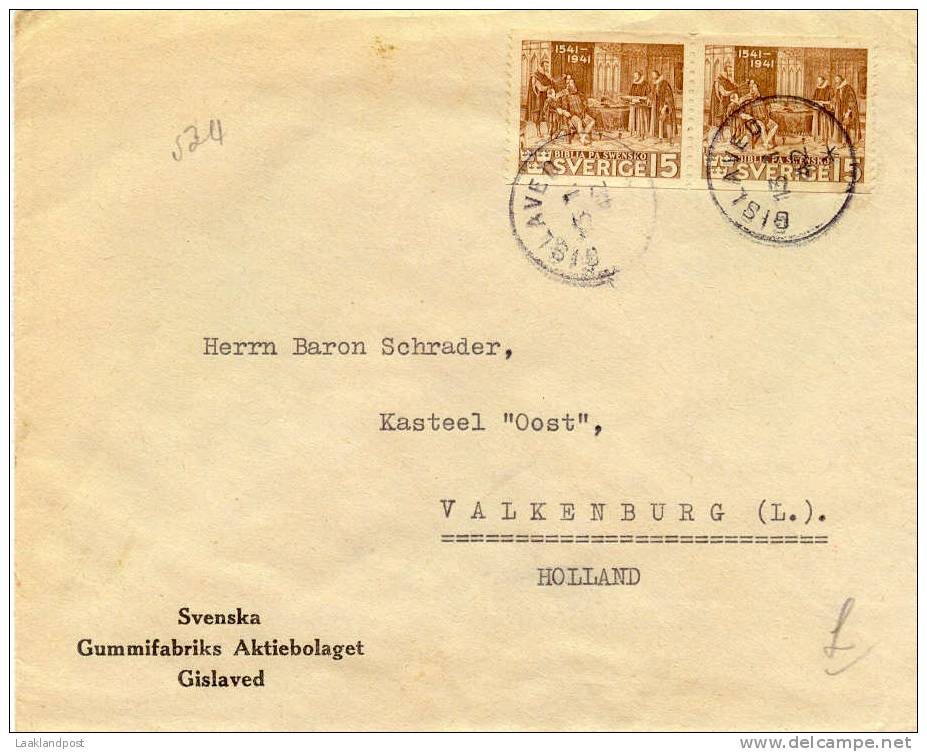 Sweden CENSOR Firm Cover Gislaved, 13-1-1942 To The Netherlands - Zweden