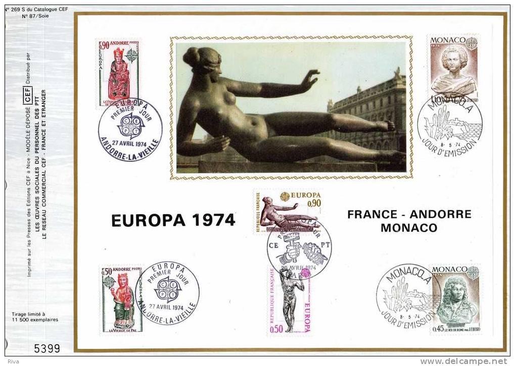 Feuillet CEF EUROPA En 1° Jour  France  Monaco Andorre De 1974 - Blocchi & Foglietti