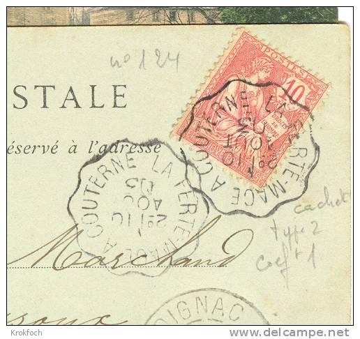 Ambulant La Ferté-Macé à Couterne 1903 - Mouchon - Carte Entière - Railway Post