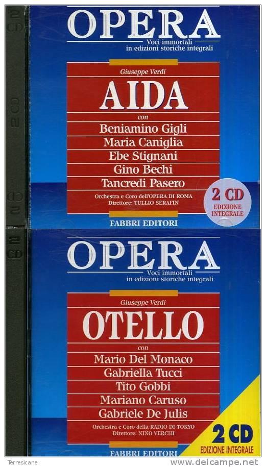 CD VERDI AIDA & OTELLO 4 (QUATTRO) CD GIGLI DEL MONACO EDIZIONI INTEGRALI FABBRI EDITORE - Oper & Operette