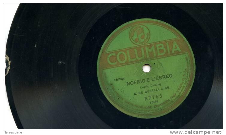 X VINILE PER FONOGRAFO COLUMBIA NEW YORK G.DE ROSALIA & CO. SICILIAN COMIC TALKING SBECCATURA COME DA FOTO - Formati Speciali