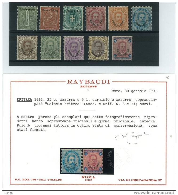Filatelia: Colonie Italiane - 1/11 - Eritrea La Prima Emissione - Soprastampati Con Certificato RAY - ERITREA - Eritrea