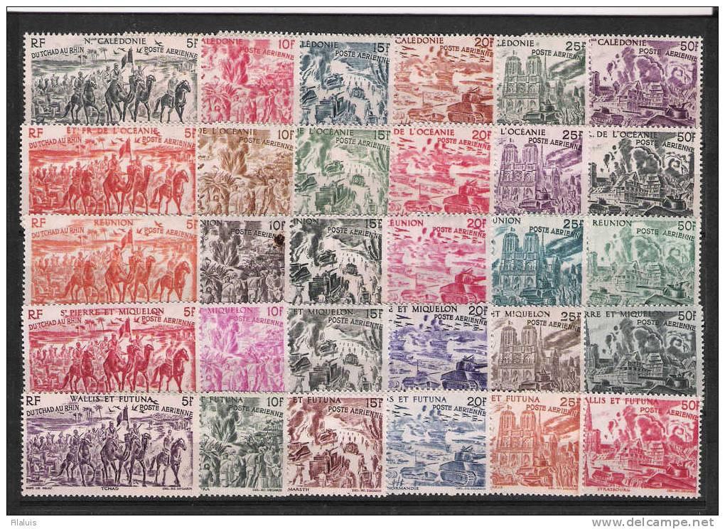 00567 Serie Colonial Francesa Completa 90 Sellos De 15 Colonias Tchad Au Rhin ** Yvert Cat.166,- Eur. - Collections