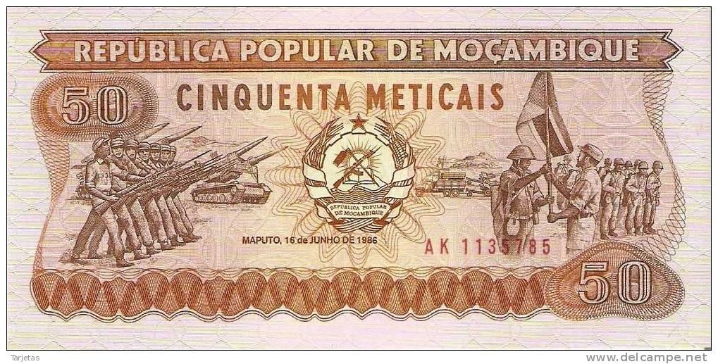 BILLETE DE MOZAMBIQUE DE 50 METICAIS (BANKNOTE)  SIN CIRCULAR - Mozambique