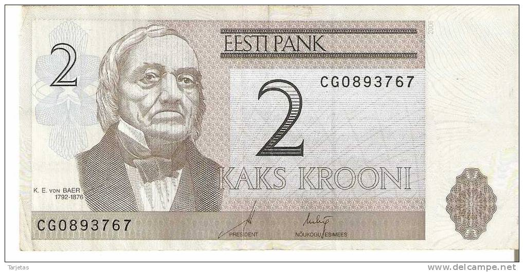 BILLETE DE ESTONIA DE 2 KROONI  (BANKNOTE) - Estonia