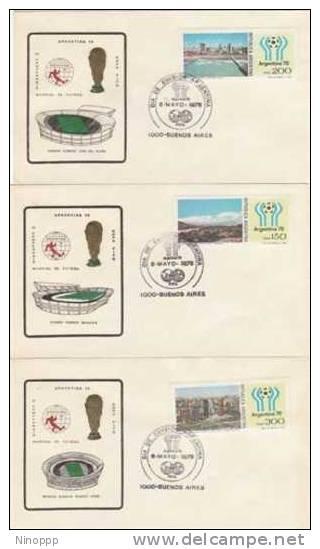 Argenina-1978 Soccer World Cup Set 5 Stadium Covers - Soccer