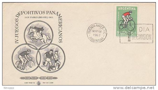 Argentina-1963 IV Panamerican Games,Cycling FDC - Cycling