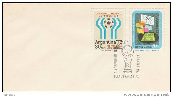Argentina-1977  Soccer World Cup 78 ,special Cup Cancelation Souvenir Cover - Soccer