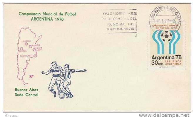 Argentina-1977 Soccer World Cup 78, Sede Central Souvenir Cover - Soccer