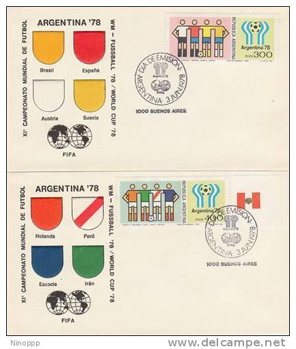Argentina-1978 Soccer Worl Cup Set 4 FDCs - Soccer