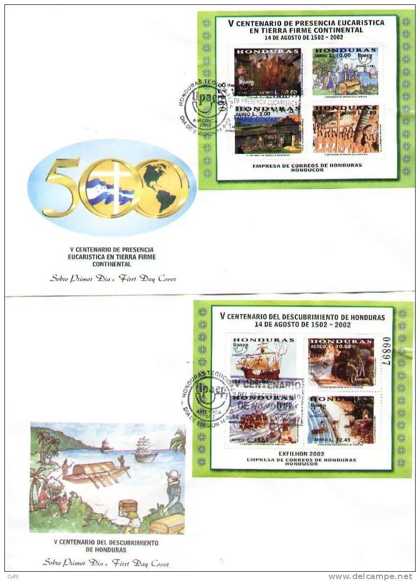 HONDURAS 2002 - AMERICA UPAEP - Vº CENT. DESCUBRIMIENTO - 2 H.B. En FDC - Honduras