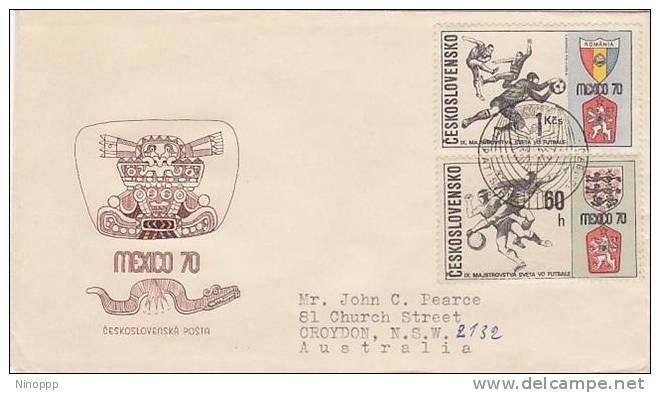 Czechoslovakia-1970 World Football Cup Cover Sent To Australia - Soccer